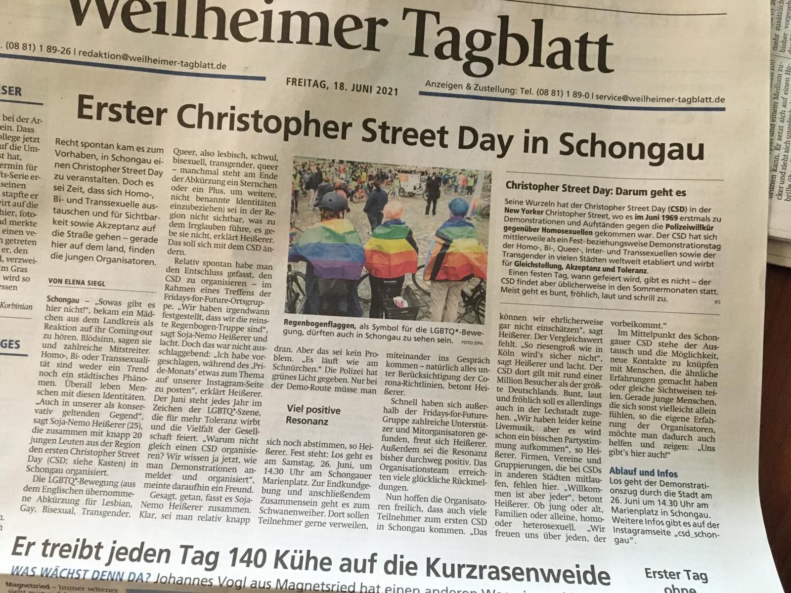 Zeitung mit CSD Artikel